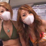 ビキニ水着姿に立体マスクを着用したマスクギャル二人組を野外エネマ陵辱調教