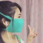 ぴったりとしたタイトマスク着用の中国人女性。口元とフェイスラインがマスクフェチにはたまらない