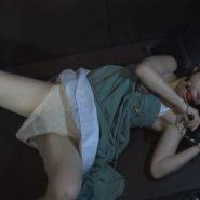 満喫の個室で寝ていたら猿轡と手錠をされバイブを固定挿入される女子