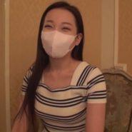 立体マスクの韓国人美女とラブホでハメ撮り生中出しセックス