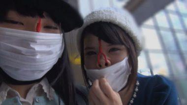 涼宮琴音・白咲碧がマスクの下に鼻フックをして外出お散歩で野外恥辱プレイ!