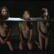 レズビアン達が首を固定され拘束監禁されている