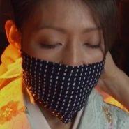 着物姿で鼻上まで覆う被せ猿轡をされた美熟女・友田真希