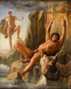 枷で繋がれ責め苦を受けるプロメテウスの絵画