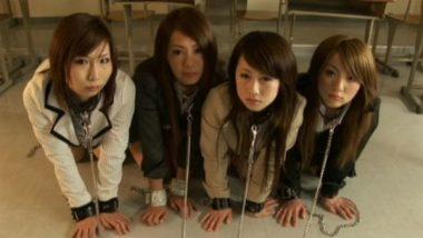 ボンデージハーレムでM女調教される4名の美人新人女教師達