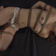 ボールギャグと縄で緊縛をされた女