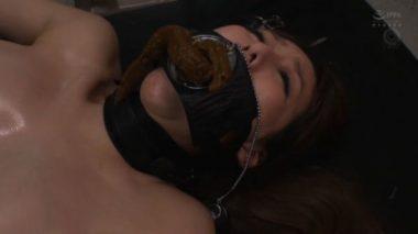 開口マスクを装着され強制食糞させらている朝桐光