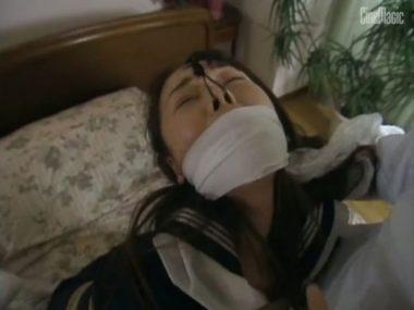 猿轡と鼻フックで陵辱される女