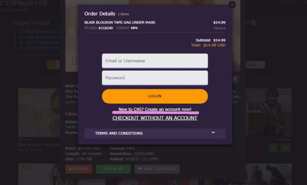 Clips4Saleの新規登録画面