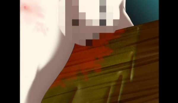三角木馬が食い込み陰部が出血するヒロイン