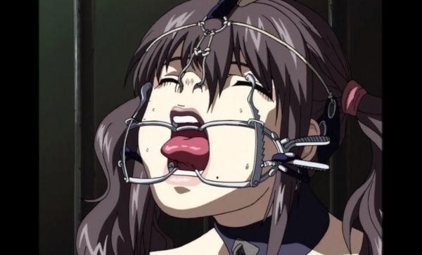 SMアニメの鼻フック開口器で顔面拘束調教