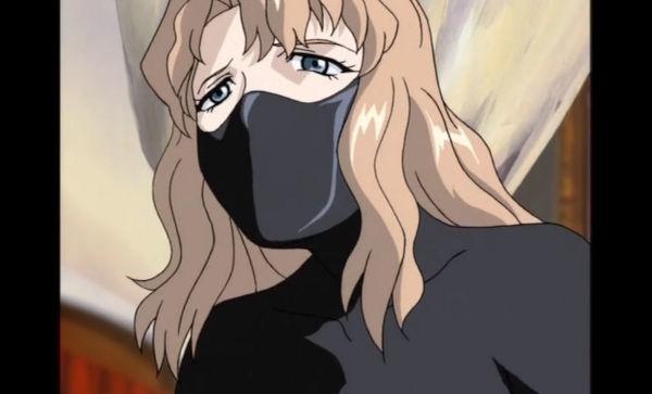 全身タイツとマスク姿のエルザ・マリア